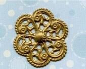 Christmas in July Sale - Vintage Stamping Brass Pinwheel (9-1B-1)