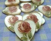 Christmas in July Sale - Cabochons - 18x17mm Vintage Acrylic Rose Heart Cabs (23-5F-4)