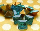 Christmas in July Sale - Aquamarine 8x8mm Glass Cabochon Rhinstone Jewels  (3-5F-12)