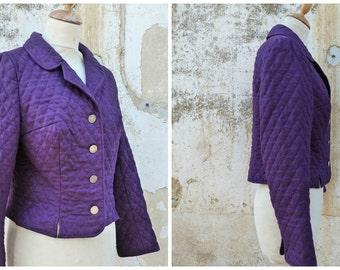 Vintage 1970/70s Austria Tyrol trachten dirndl quilted Purple jacket size S