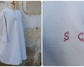 Vintage Antique 1900 /1910 Edwardian   linen & hemp shirt / nightgown  monogram S.C size free