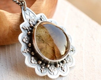Silver Lodolite Necklace, Botanical Silver Quartz Pendant, Hand Fabricated Silver Artisan Necklace, One of a Kind Metalwork, Garden Quartz