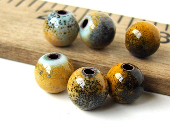 Rustic Orange and Yellow Enameled Copper Round Beads