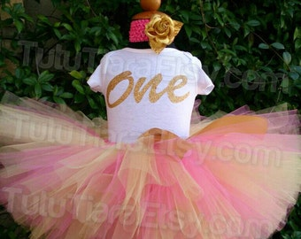 Pink and Gold Birthday Tutu Set Shirt and Tutu Skirt Girls First Birthday Outfit Personalized Name 1st Birthday ONE Onesie