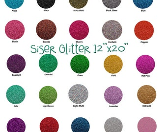 "Glitter Siser HEAT TRANSFER vinyl sheet size 20""x12"" many colors available"