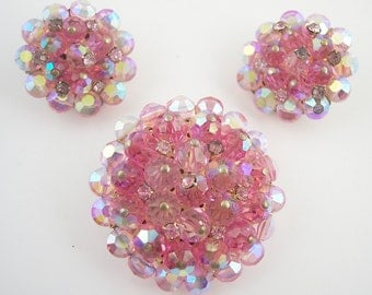 Vintage Pink Crystal Brooch Set