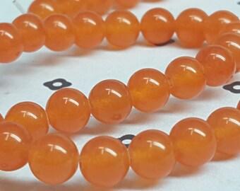6mm Orange Dyed Jade full strand