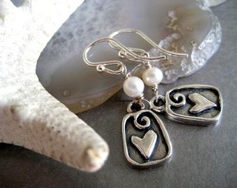Friendship earrings-Geometric Sterling Silver love Heart Earrings-spiral Heart Earrings-Heart Pearl Earrings-dangle-everyday earrings-Love