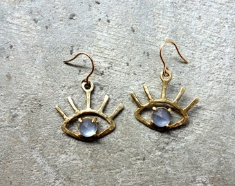 The Beholder Earrings: Brass and Rose Cut Faceted Chalcedony Eye Earring Dangle Drops