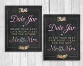 Date Jar 8x10 Printable Wedding or Bridal Shower Date Night Ideas for Mr. & Mrs. Chalkboard Sign with Pink and Yellow Watercolor Flowers
