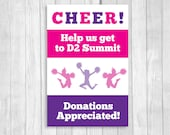 Custom Personalized 20x30 Printable Cheerleading Fundraising Sign - Purple and Hot Pink RESERVED