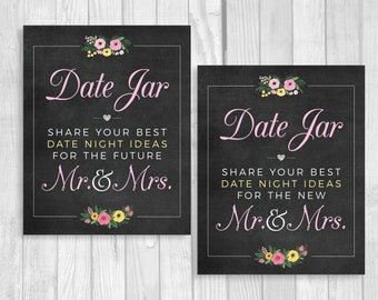 SALE Date Jar 8x10 Printable Wedding or Bridal Shower Date Night Ideas for Mr. & Mrs. Chalkboard Sign with Pink Yellow Watercolor Flowers