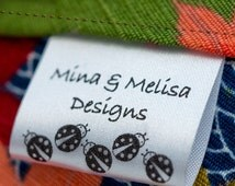 30mm Wash care satin personalized labels for CPSIA requirement textile tag fabric tag clothing tag 300 pcs