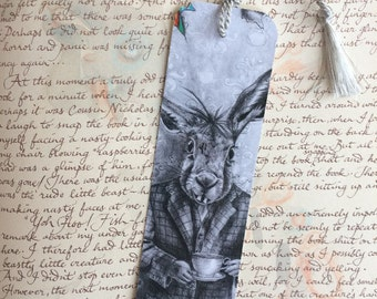 Alice In Wonderland Bookmark March Hare Bookmark Fantasy Art Gothic Art Rabbit Bookmark