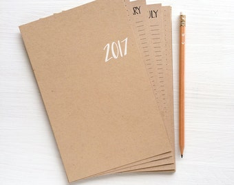 2017 kraft monthly planner sheets - small
