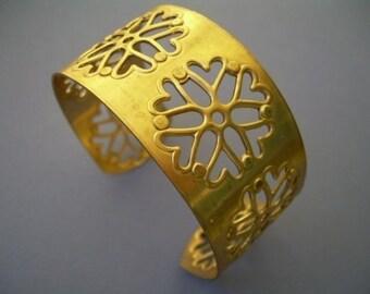 Brass Filigree Cuff Bracelet with Rivet Settings