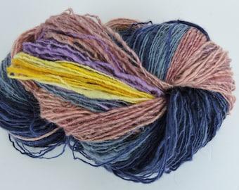 Hand Spun Gradient Yarn Single Fingering Sport Weight  Kid Mohair Merino Navy, Rose, Blue Yellow 16-1-38