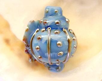 Blown Blue Sea Shell Bead