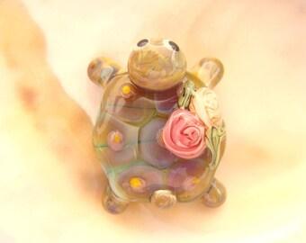 RESERVED - Turquoise Turtle Bead Handmade Lampwork