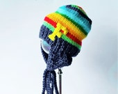 Thick  Knit  Ear Flap Hat with  RAINBOW  stripes and Letter or other applique  of your Choice , Made in the USA, Kids Unisex  bright hat
