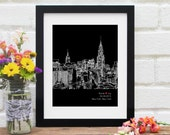 New York City Skyline, Personalized New York Art, New York Wedding Gift, Anniversary, New York City, Engagement Gift, Skyline - 8x10 Print