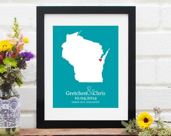 Anniversary Gift, State Map Art Print Wedding Location, One Year Anniversary Paper Gift, Wisconsin State Map for Couples - 8x10 Art Print