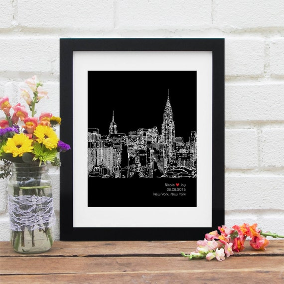Unique Wedding Gifts Nyc : New York City Skyline Personalized New York Art New York