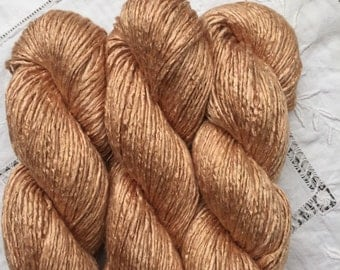 Silk Yarn - Hand Dyed Worsted weight - Shade: Amber (4)