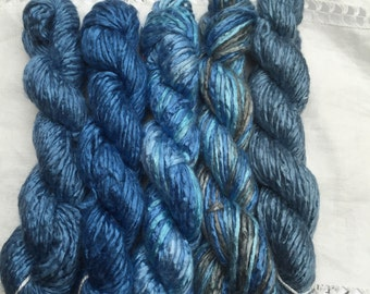 Silk Yarn - Mini Skeins - Blues