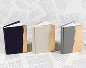 Hardcover Mini Linen Notebook in Dark Purple, Pale Bisquit or Gray with Copper Leaf Decoration