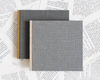 Grey Linen Notebook with Contrast Color Spine - Soft Covers - Medium Size