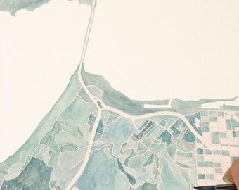 SAN FRANCISCO Map Watercolor City Block Plan (Original Watercolor Commission) CALIFORNIA Map Wedding Gift Pacific Bay Area Wall Art
