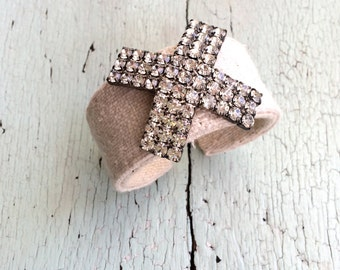 Grain Sack and Rhinestone Adjustable Cuff