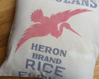 18 Inch Grain Sack Pillow - Heron Rice Flour Sack