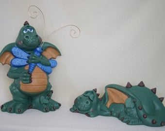 Dragon Statues - Pair of Dragons - Yard Art - Garden Dragons - Fantasy Decor - Dragon Figurine - Mythical Creatures -  Mothers Day