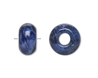 Sodalite - 1 Natural Gemstone Big Hole Bead for add a bead chains