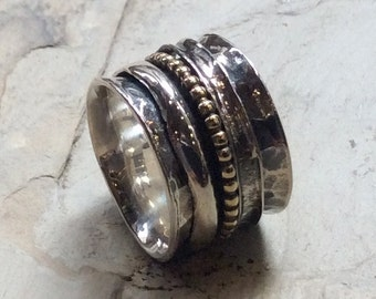 Silver wedding ring, gold filled band, eternity ring, three stacking bands, unisex wedding band, wide band - Purpose R2344