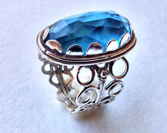 London topaz ring, Silver ring, Blue stone ring, ornate ring, Cocktail Ring, Antique Ring, engagement Ring, hippie Ring - Sunkissed R1252