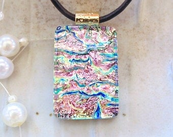 Dichroic Glass Pendant, Fused Jewelry,  Necklace, Pink, Necklace Included