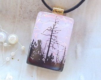 Pink Necklace, Tree Image Fused Dichroic Pendant, Pink, Enamel, Necklace Included, A1