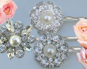 Vintage Style, Wedding Hair pins, Silver crystal pearl, bobby pins, Bridesmaid hair pins, bridal accessories, rhinestone clips