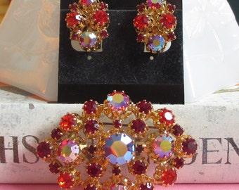Vintage Red Rhinestone Matching Jewelry Set, Brooch and Earrings, Orange Rhinestone, Austrian Jewelry, Austria Brooch