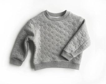 kids grey sweatshirt, baby toddler quilted grey marle pullover, winter sweater, boys girls winter top (qilted grey marle), 3/4T