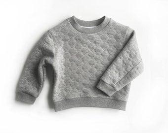 Kids grey sweatshirt, baby toddler quilt grey marle pullover, winter sweater, boys girls winter top (qilted grey marle quilt)