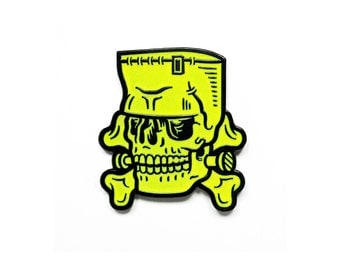 "Frankenstein Enamel Pin - 1.5"" Glow-in-the-Dark, Monster Skull Horror Lapel Pin"