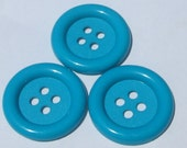 3 jumbo blue round plastic buttons new destash supplies for crafting and sewing