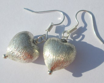 sterling silver over copper textured hearts pierced dangle hand made wire wrapped earrings