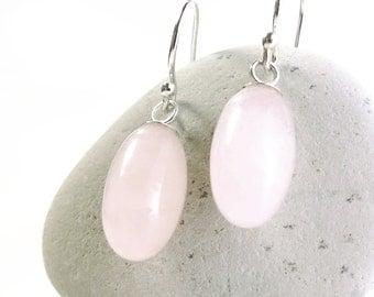 Rose Quartz earrings, sterling silver, pink gemstone, Minimal jewelry
