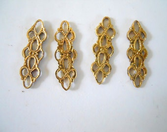 Vintage Brass Filigree Connectors
