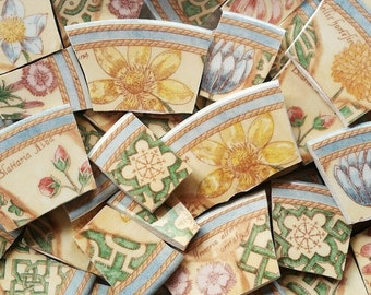 "Mosaic Tiles--Botanical Garden Path Borders-Floral--1+inch over 2"" - 38 Tiles"